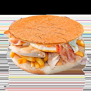 Menú sandwich pollo, huevo, bacon y patatas Krunch